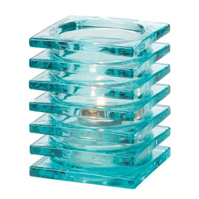 Hollowick 1501AQ Aqua Stacked Square Glass Block Lamp