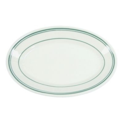 "Homer Laughlin 1511 Green Band Oval 7.25"" Platter - 36 / CS"