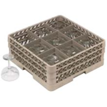 Traex® TR10FF Beige 9 Compartment Glass Rack with 2 Extenders
