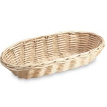 "Vollrath 47204 Oblong 9"" x 3.5"" Tan Plastic Rattan Basket"