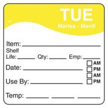 "DayMark 1100622 DissolveMark™ 2.5"" Tuesday Day Square - 125 / RL"