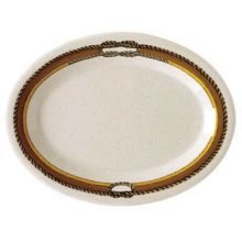 "G.E.T. OP-120-RD Diamond Rodeo Ivory 12"" x 9"" Platter - 12 / CS"