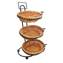 Mobile Merchandisers® K2848 3-Tier Oval Willow Basket Display Rack