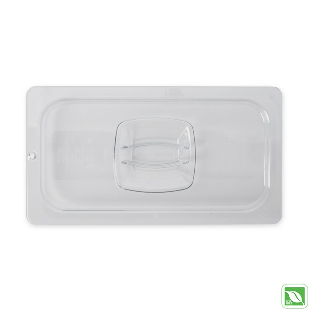 Rubbermaid® FG121P23CLR Clear Solid Carb-X Lid w/Peg Hole