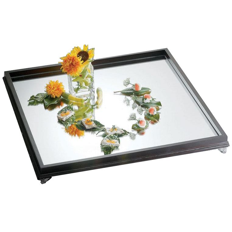 "Bon Chef 51011 30"" Sq. Glass Mirror Display Tray w/ Wood Border"