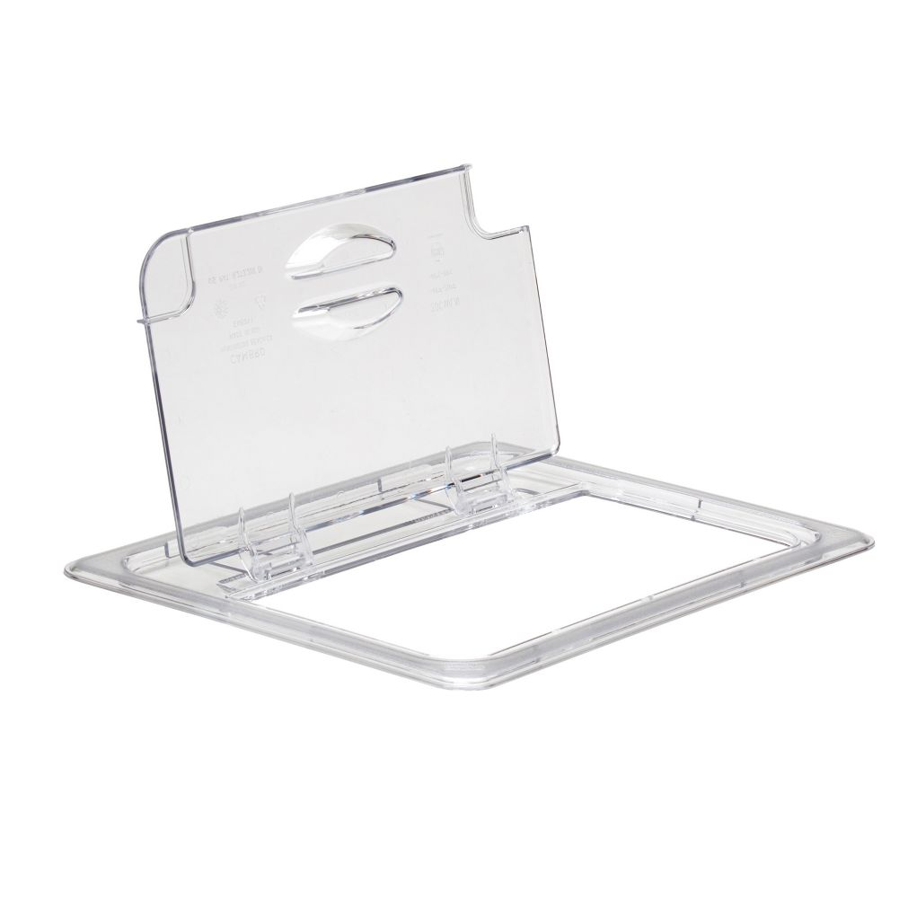 Cambro 20CWLN135 Camwear® Clear Half Size Notched Food Pan FlipLid