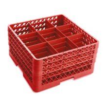 Traex® TR10FFFF-02 Red 9 Compartment 4-Extender Glass Rack