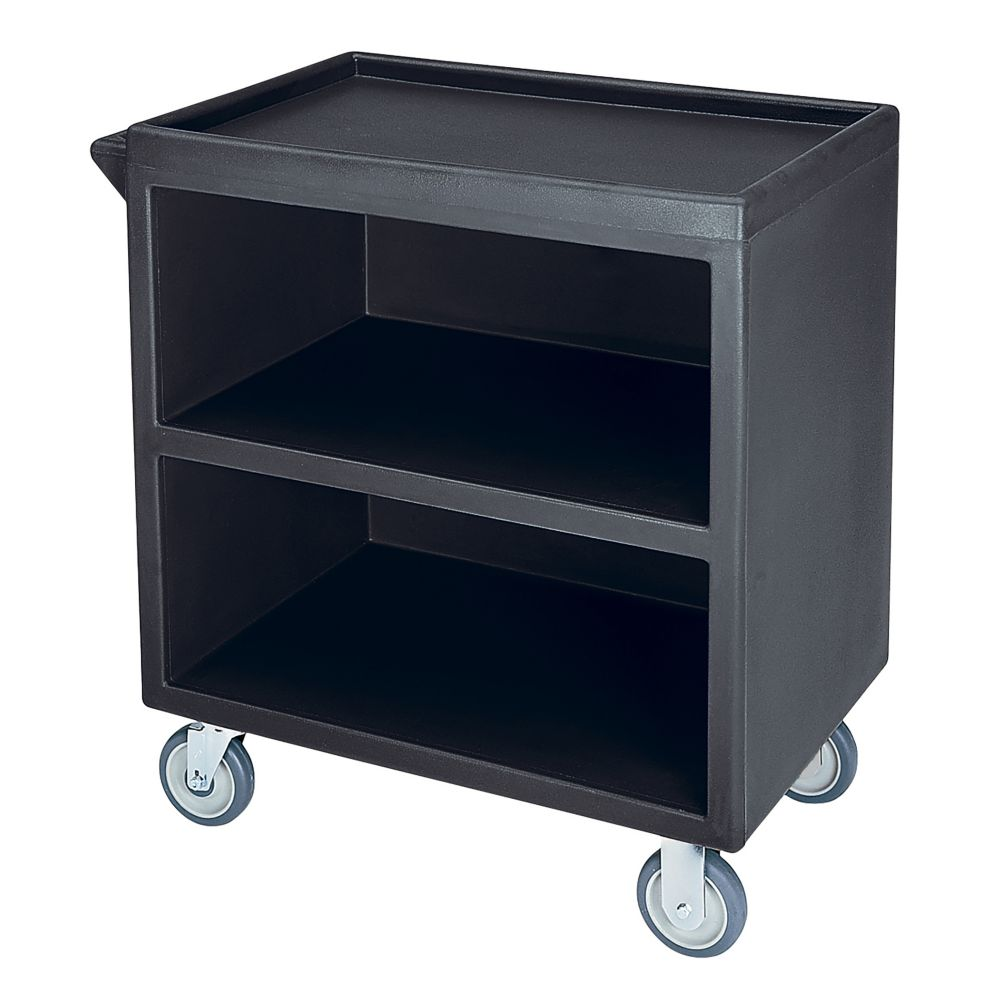 Cambro BC330110 Black 33-1/8 x 34-5/8 Closed Side 3-Shelf Service Cart