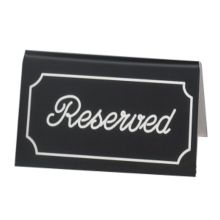 """Cal-Mil 273-2 Black """"Reserved"""" Message Tent - 12 / CS"""