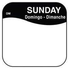 "DayMark 1100377 DissolveMark™ .75"" Sunday Day Square - 1000 / RL"