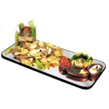 "Lakeside® 267 Geneva Mirrored 18"" x 36"" Rectangular Display Tray"
