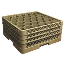 Traex® TR12HHH Beige 30 Compartment Glass Rack with 3 Extenders