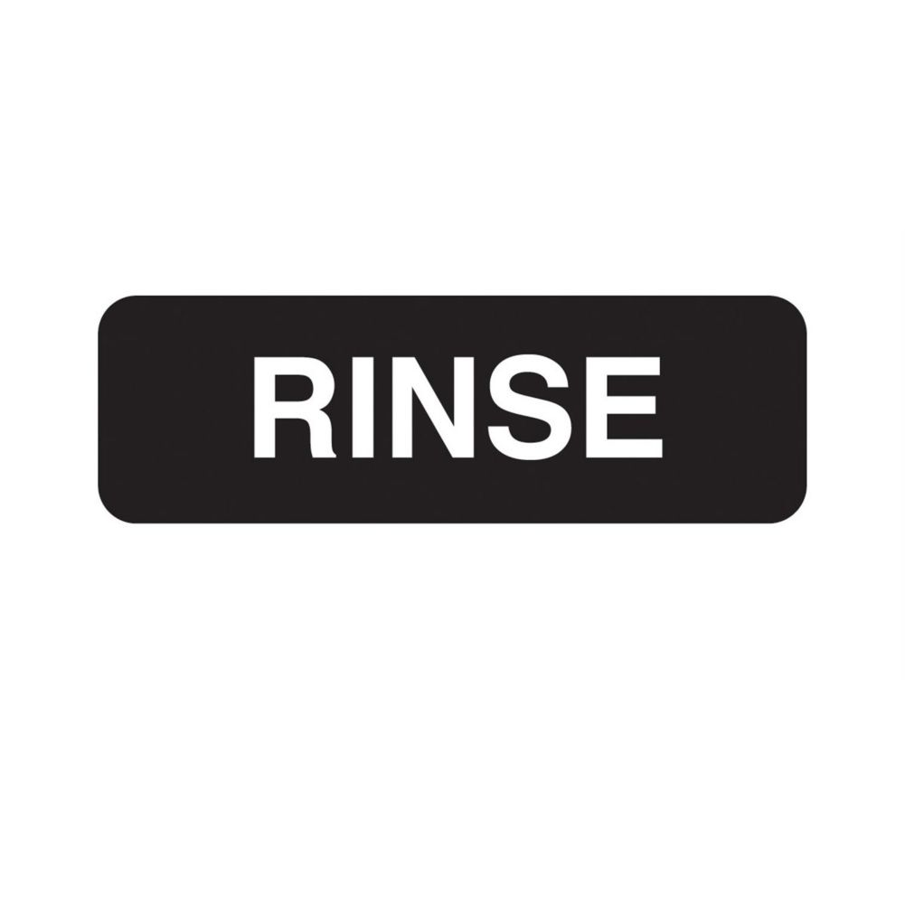 "Traex 4522 Black 3 x 9"" RINSE Symbol Sign with White Letters"