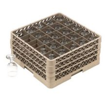 Traex® TR6BBB Beige 25 Compartment Glass Rack with 3 Extenders