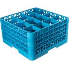 Carlisle® RG16-414 OptiClean™ Blue 16-Compartment Glass Rack