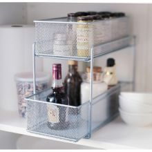 "Design Ideas 351289 7.5"" x 13.8"" Silver Mesh Cabinet Basket"