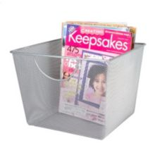 "Design Ideas 351419 11.5"" x 10.5"" Large Silver Mesh Storage Basket"