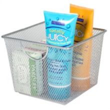 "Design Ideas 351409 6.9"" x 6.9"" Small Silver Mesh Storage Basket"