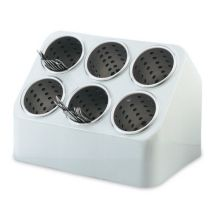 Vollrath 52644 Gray Silv-A-Tainer 6-Hole Plastic Silverware Container