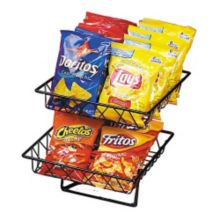 Cal-Mil 1293-2 Black Wire 2-Tier Basket Rack with 2 Baskets