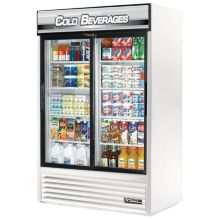 True GDM-45-LD WHITE 45 Cu Ft Merchandiser With Cold Beverage Sign
