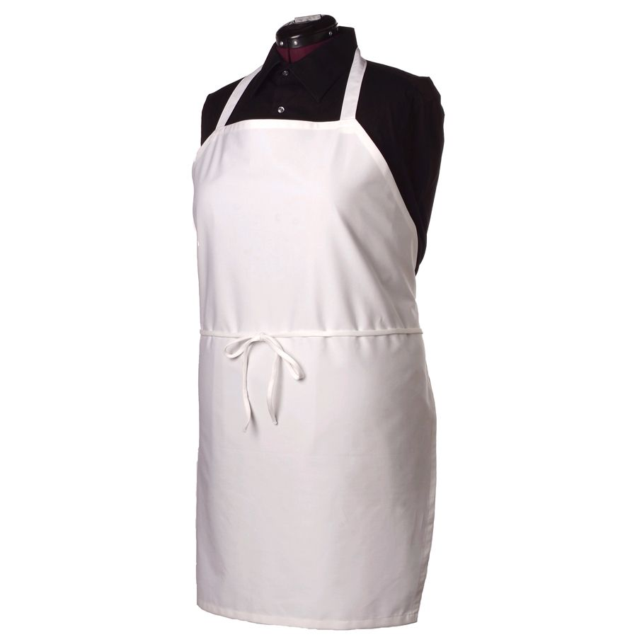 Ritz® BIAWH White Bib Apron Without Pockets