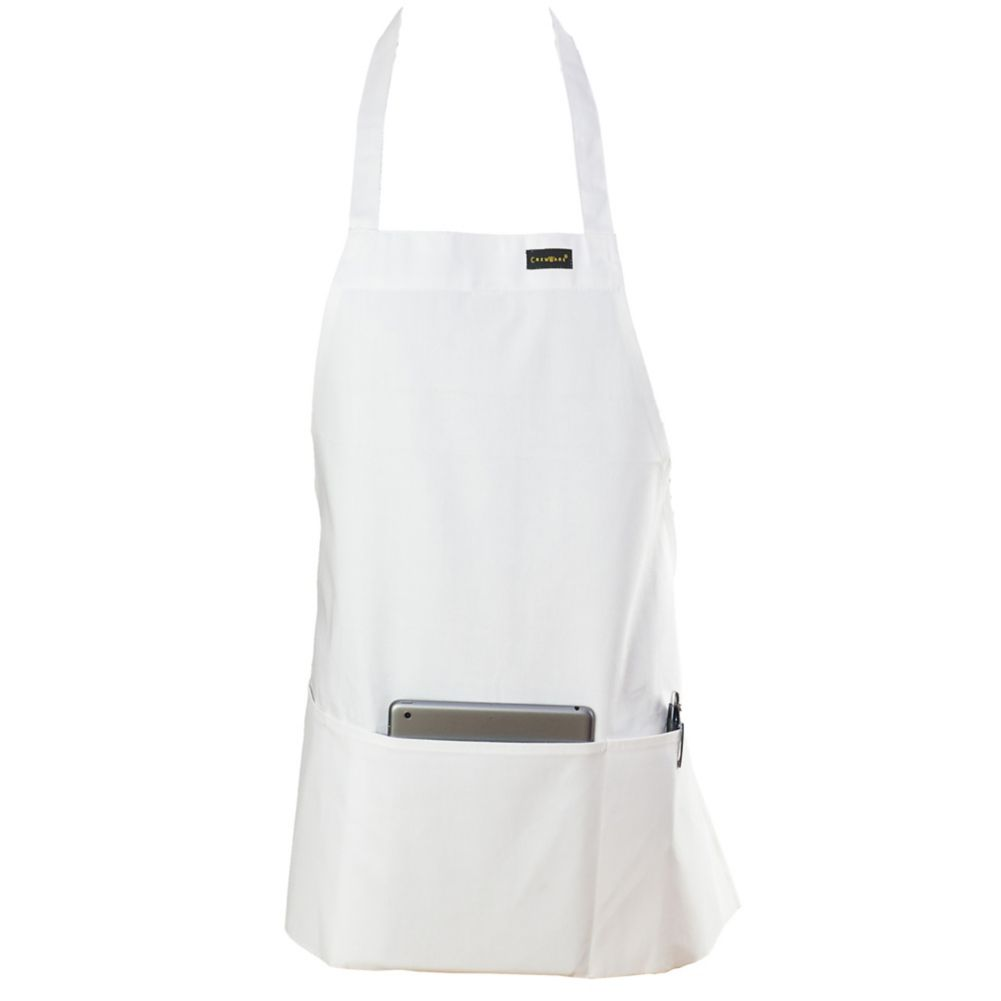 Chef Revival 602BAFH-WH Front-of-the-House White 3-Pocket Bib Apron