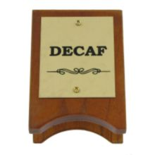 Classic Hotel Woodwork DCSG Wood And Brass 3-1/2 x 2-1/2 Decaf Sign