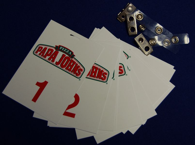 Papa John's Dough Tag Set W/ Clips, Numbered 1-12