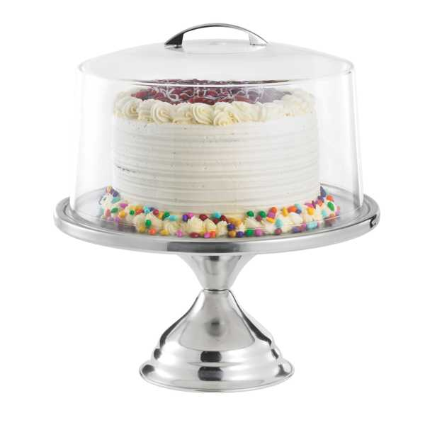 TableCraft Stainless Steel Cake Stand with Cover