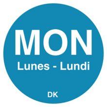 """DayMark 1100521 DuraMark Bilingual 3/4"""" Monday Day Circle - 5000 / PK"""