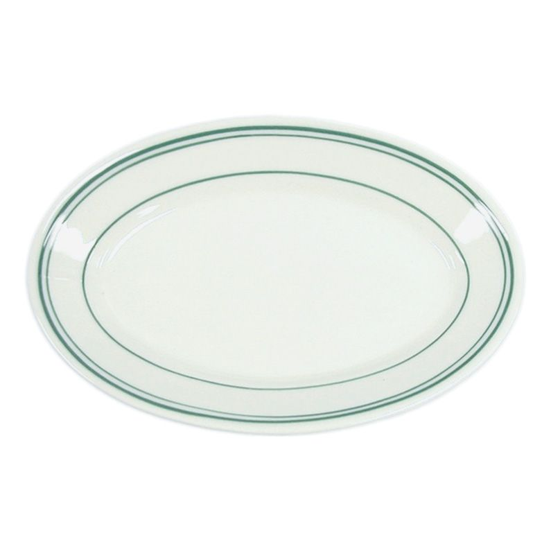 "Homer Laughlin China 1581 Green Band Oval 15"" Platter - Dozen"