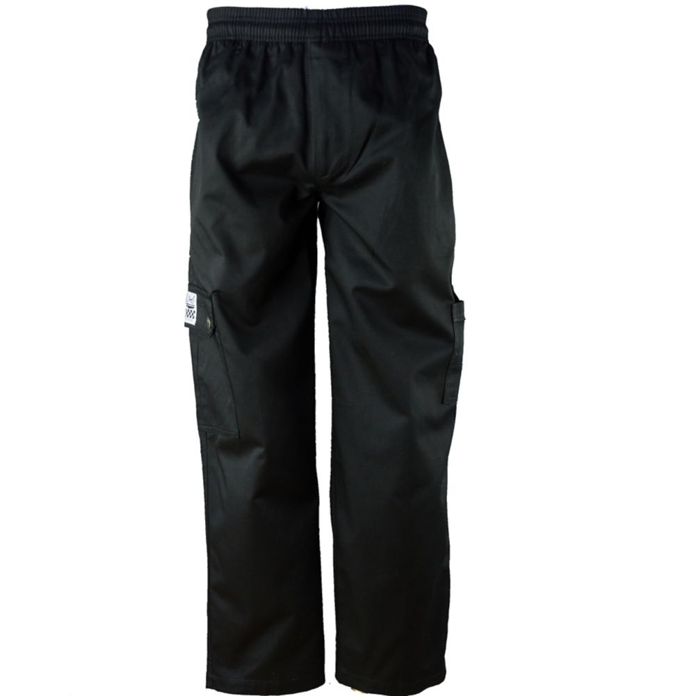 Chef Revival® P024BK-M QC Lite™ Medium Black Cargo Pants