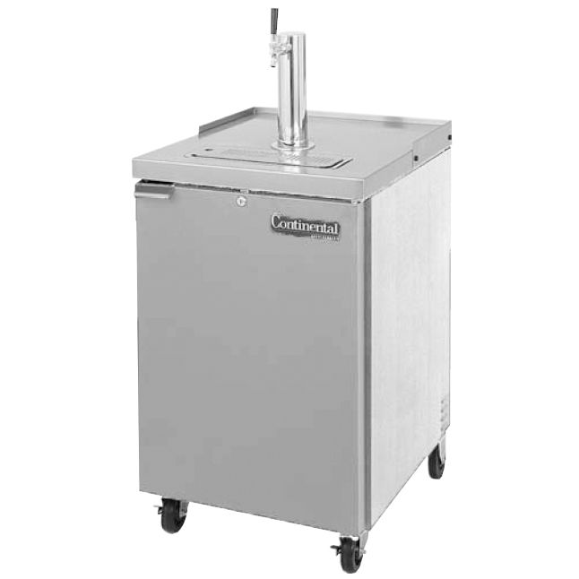Continental KC24-SS S/S 8 Cu Ft Single Keg Draft Beer Cooler w/ Lock