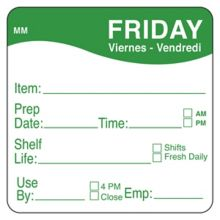 "DayMark 1122125 MoveMark 2"" Friday Shelf Life Day Square - 500 / RL"