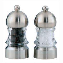 "Chef Specialties 1572 Clear 3.5"" Metro Pepper Mill/Salt Mill Set"