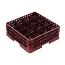 Traex TR8DD-21 Burgundy 16 Compartment Glass Rack with 2 Extenders