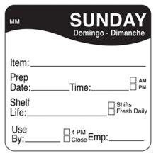 "DayMark 1122127 MoveMark 2"" Sunday Shelf Life Day Square - 500 / RL"