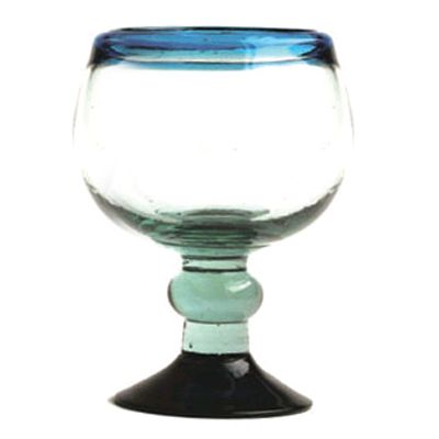 Aztecas Design 245L 20 Oz. Cobalt Rim Chabela Glass - 12 / CS