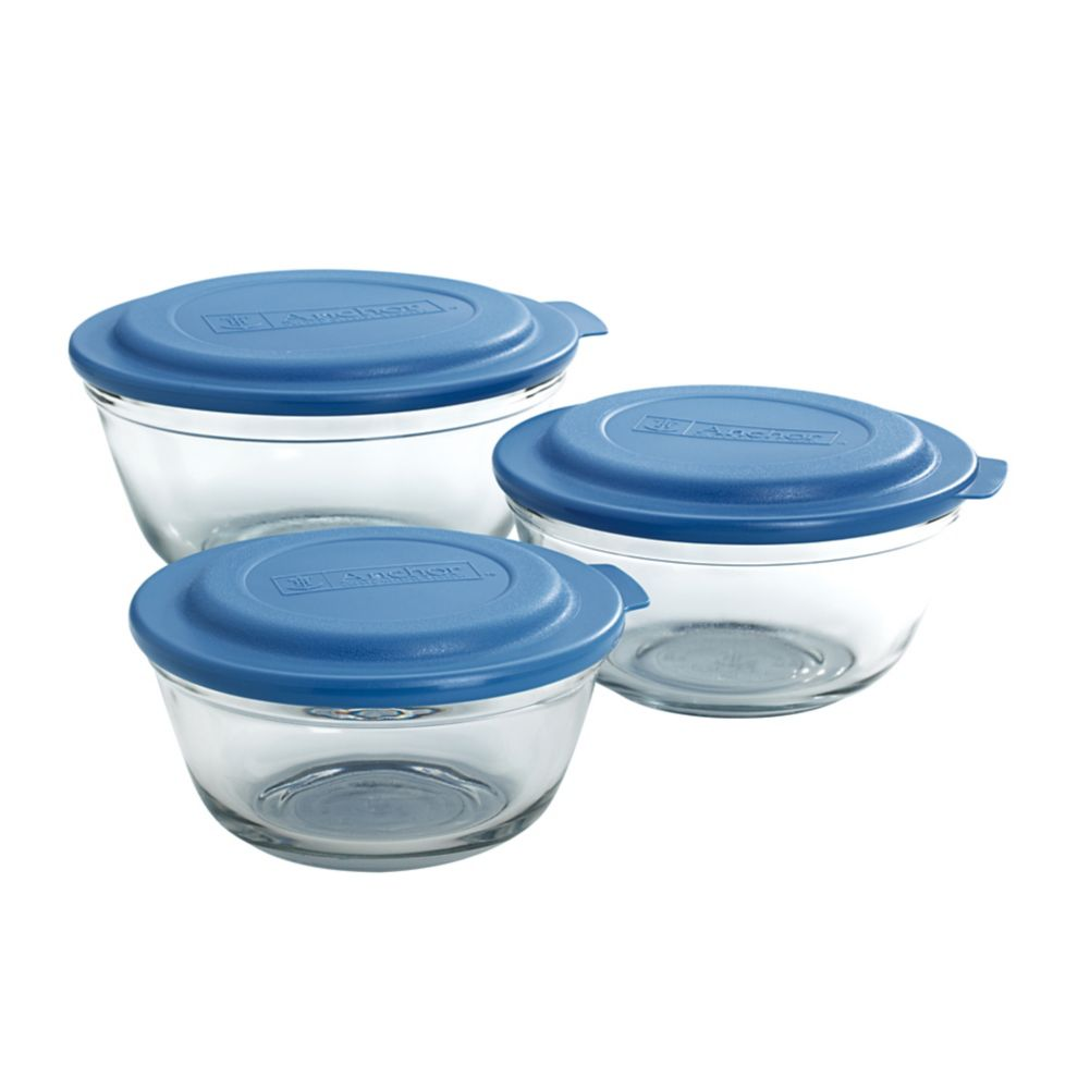 Anchor Hocking® 82931L20 Glass 6 Piece Mixing Bowl Set