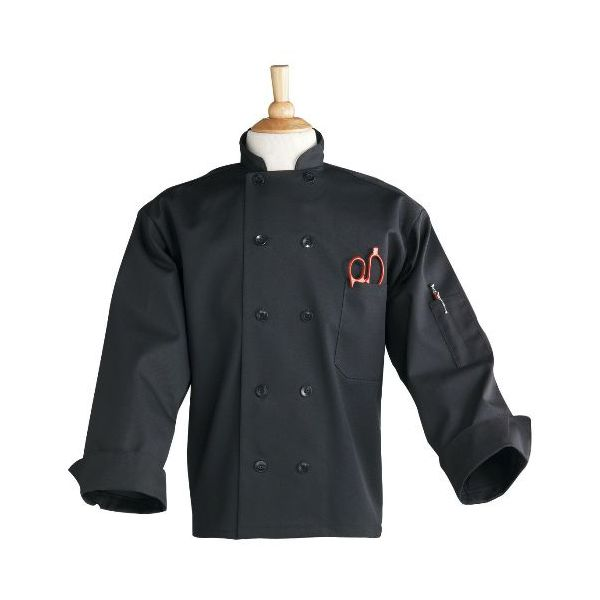 Uncommon Thread 0402BXL Black Extra Large 10 Button Classic Chef Coat
