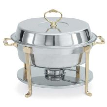 Vollrath 46030 Classic Round 5.8 Quart S/S Brass Trim Chafer