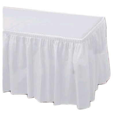 "Hoffmaster 110010 29"" x 14' White Plastic Table Skirt - 6 / CS"
