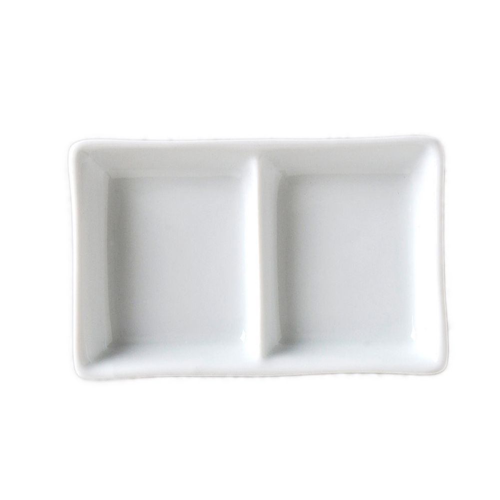 Vertex® China AV-D2 Ventana 2-Compartment Sauce Dish - Dozen