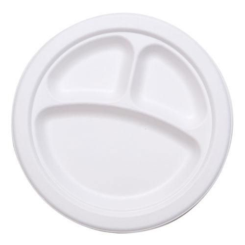 Stalk Market P007 Compostable 3-Compartment Plate - 500 / CS