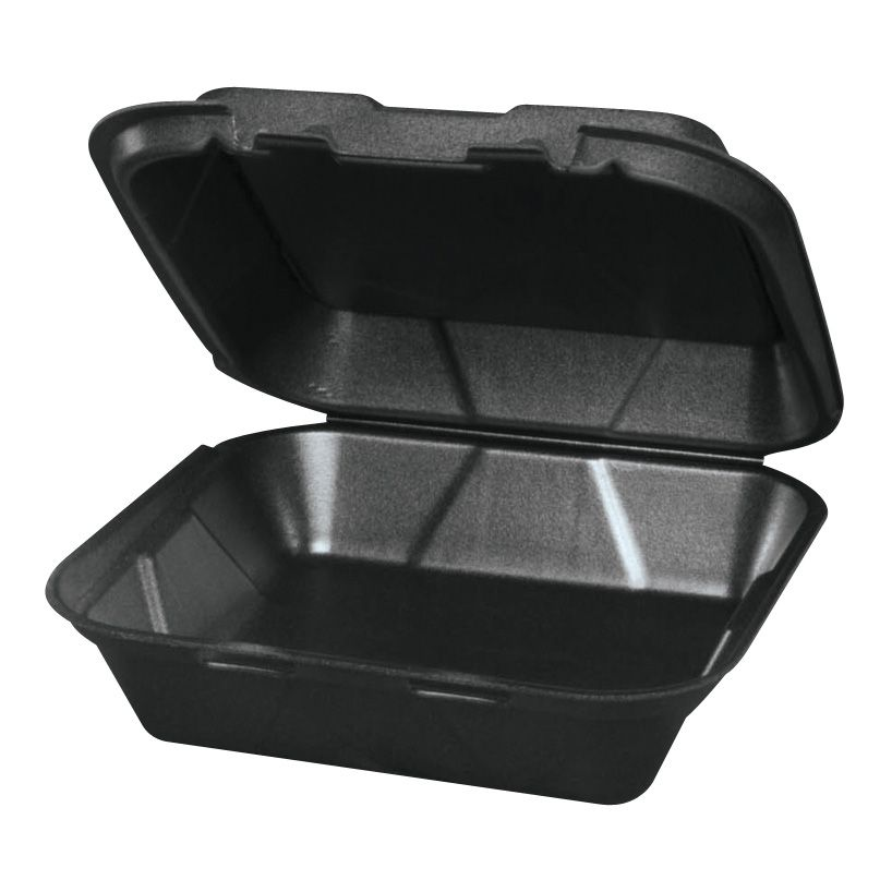 Genpak SN200-3L Black Hinged 9.25 x 9.25 x 3 Foam Container - 200 / CS
