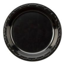 "Genpak® BLK06 Silhouette 6"" Black Plastic Plate - 1000 / CS"