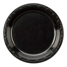 "Genpak® BLK09 Silhouette 9"" Black Plastic Plate - 400 / CS"