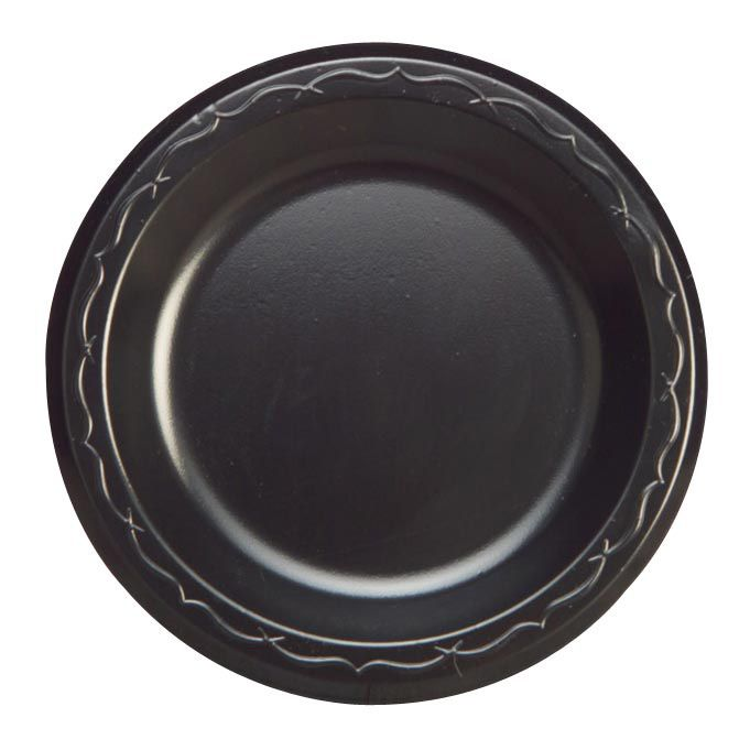 "Genpak LAM09-3L 8.9"" Round Black Laminated Foam Plate - 500 / CS"