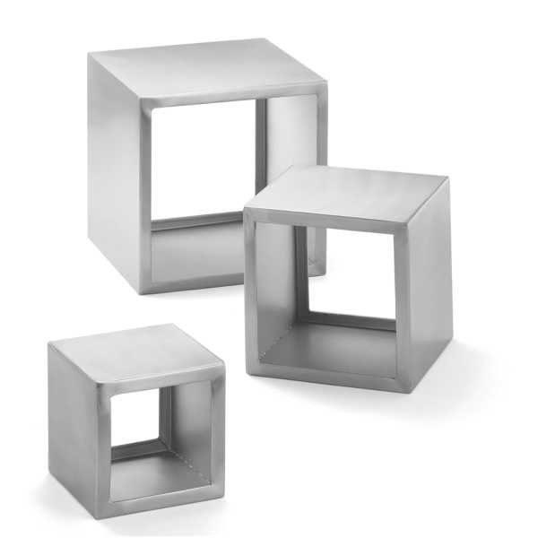 TableCraft Brushed Stainless Steel Square 3-Tier Riser Set